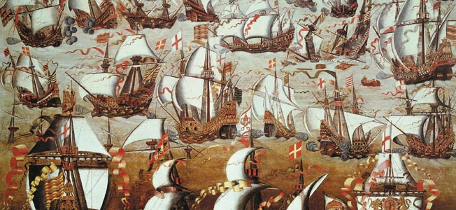 Ships and Galleons of the Spanish Armada Campaign against England.