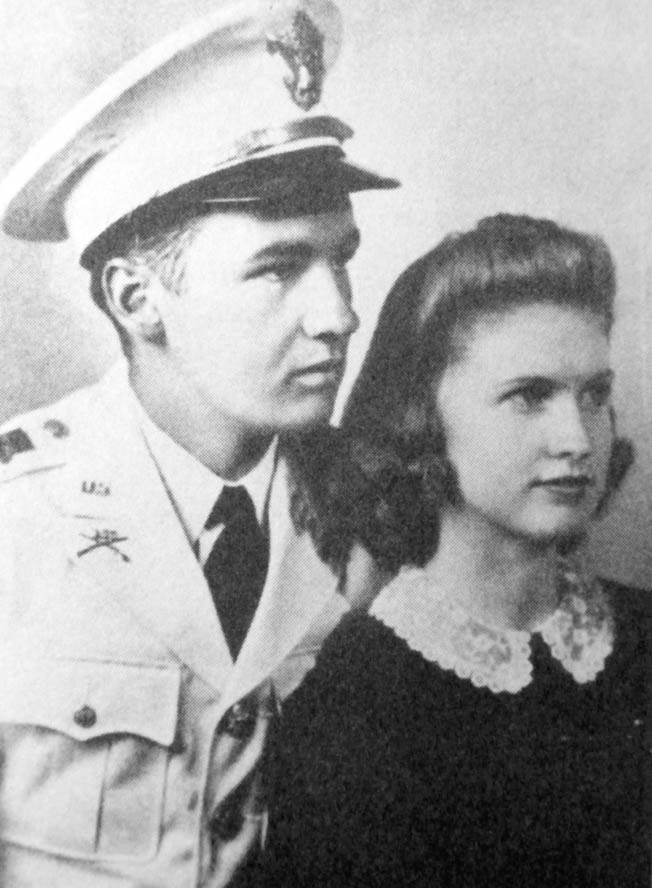 "Lieutenant (later brigadier general) Felix L. Sparks and his wife Mary, 1940. Sparks is regarded as the ""hero of Reipertswiller"" for his courageous actions."