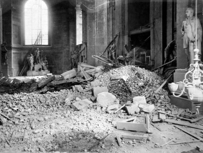 St. Paul's did suffer some damage, including this caused by falling debris. On the whole, however, the structure survived with minimal damage; many believed that the cathedral was saved by divine intervention.