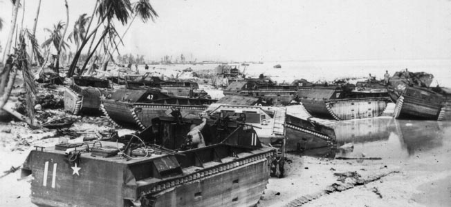 Don Crain and the 2nd Amphibious Tractor Battalion hit Red Beach 2 at Tarawa.