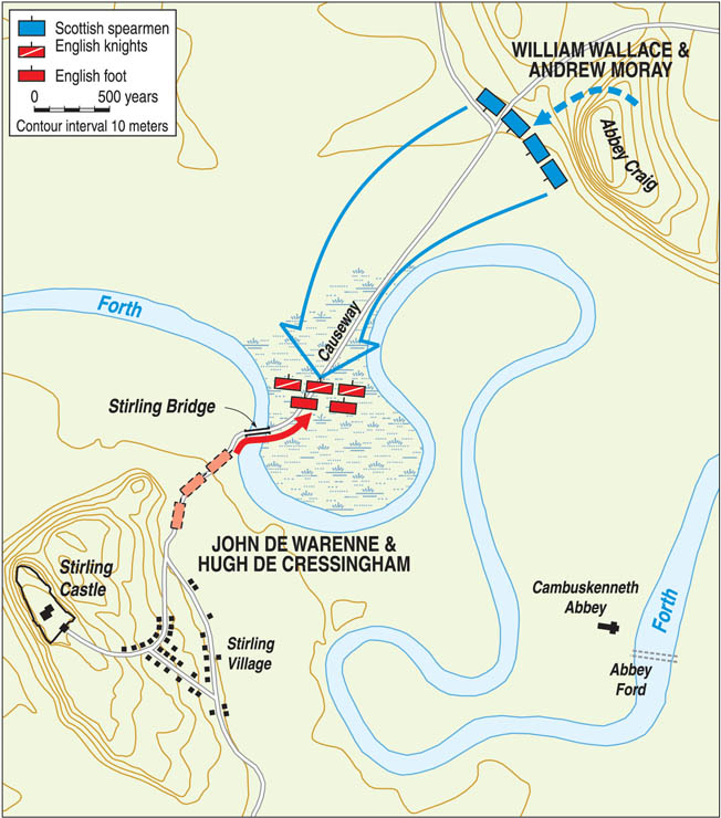 After the last-minute negotiations failed, De Warenne sent his vanguard across the river where the English heavy cavalry was ineffective in the marshland.