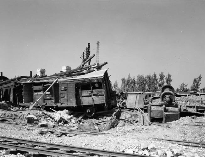 Direct hits on rail cars, such as these in the marshaling yards at Vicenza, Italy, were the exception rather than the rule—and the damage was usually quickly repaired.