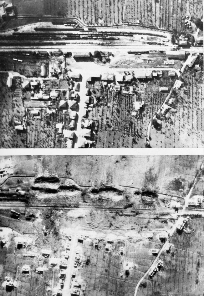Before and after photos of the destruction of the small Italian railway town of Roccasecca, northwest of Monte Cassino. When Allied bombs hit and detonated a German munitions train on a siding, the town was virtually obliterated. Note the large holes in the earth caused by exploding munitions.