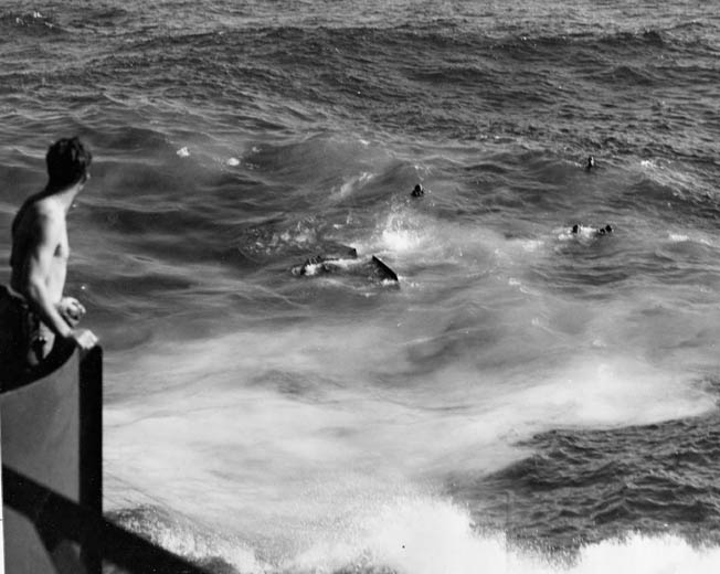 Under the watchful eye of a sailor from the USS Morris, the crew await pick up as the bomber sinks, tail last.
