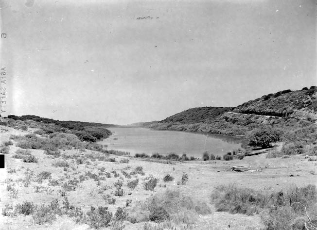 In this area south of Mehdia Plage, a pivotal tank battle took place between American and Vichy French armored forces. In the distance beyond the lake lies the Kasbah, where a garrison of 250 Vichy French troops had to be neutralized.