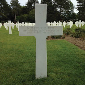 The grave of co-pilot 1st Lt. Hubert R. Tardif in the American Military Cemetery at Colleville-sur-Mer, Normandy.