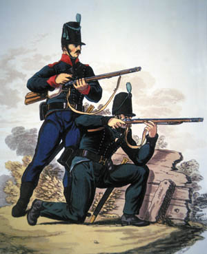 Armed with the Baker Rifle, specially trained British troops became the premiere skirmishers and marksmen of early 19th century warfare.