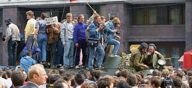 In 1991, members of the Soviet government attempted a coup d'état to take the country away from President Gorbachev.