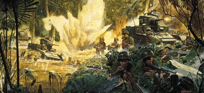 The Battle of Buna during the defense of Australia in New Guinea saw both sides battle stubborn resistance, harsh jungle, and treacherous mountains.