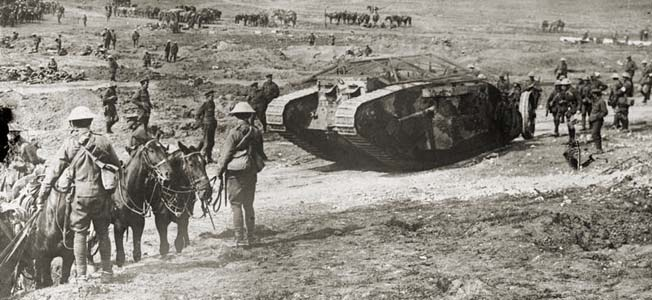 Tanks entered combat for the first time in history on September 15, 1916, with British troops at Flers Courcelette during the Battle of the Somme.