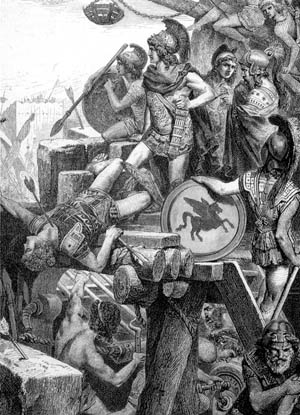Ancient Greek engineers developed war machines such as the catapult, which evolved from the crossbow and were the forerunners of modern artillery.