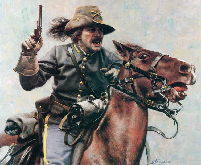 The spirit and dash of the Confederate cavalryman is well captured in Don Stivers' painting, The Commander. The swirling fight at Trevilian Station would test those qualities to the max.