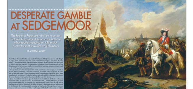 The fate of the Protestant rebellion to unseat Catholic King James II in the blanace when the Duke of Monmouth's rebels launched a night attack across the English moors.