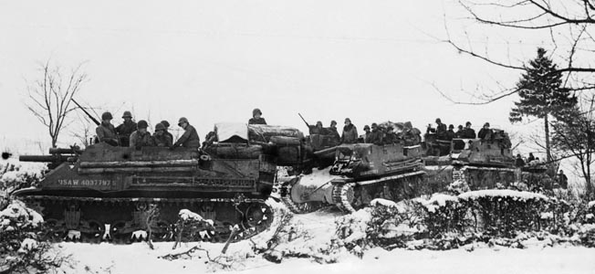 The German salient in the Ardennes was eliminated when two American armies reestablished contact near Houffalize during the Battle of the Bulge.