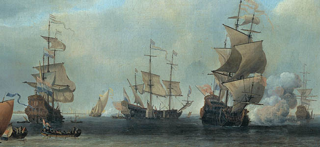 Admiral Michiel de Ruyter's Dutch fleet overpowered Admiral General George Monck's English fleet in a protracted naval clash in June 1666.