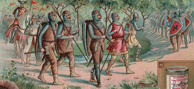 Shakespeare described Scots warriors using foliage to disguise their advance on Macbeth's castle. This image is one of a series of advertising cards used to promote a German meat extract product.