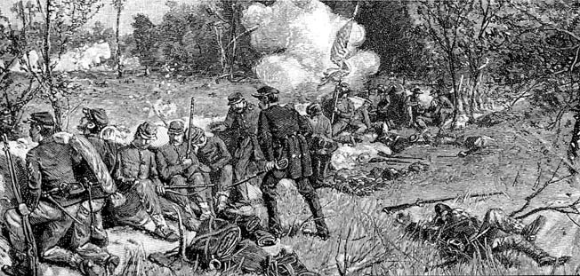 The Irish Rifles (37th New York Volunteers) fought with courage and discipline at the Battle of Chancellorsville.