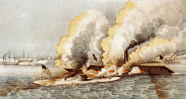The Monitor and the Merrimack tested the limits of Naval warfare with the Federal Blockade at risk at the Battle of Hampton Roads.