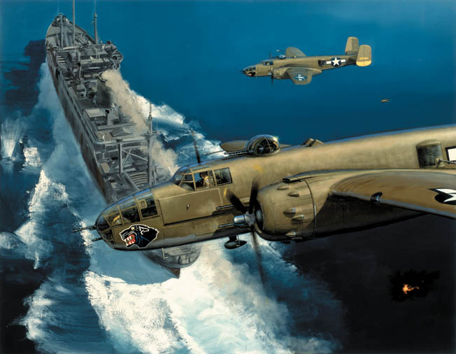 The B-25 Billy Mitchell Bomber served Allied Forces from the beginning of the War to the very end.