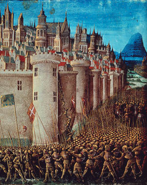 Crusaders battle the Seljuq Turks in the siege of Antioch, the final obstacle on their path to Jerusalem.