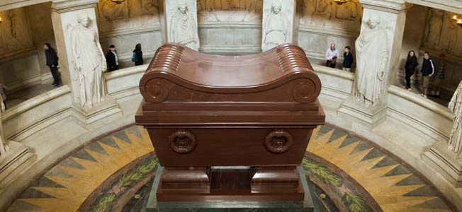 Forty years after the death of Napoleon Bonaparte on the island of St. Helena, his body was entombed in a sarcophagus at Les Invalides in Paris.