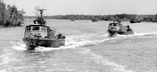 Its destroyers and other warships being too large, the U.S. Navy developed the Swift Boat to patrol coastal areas and rivers during the Vietnam War.