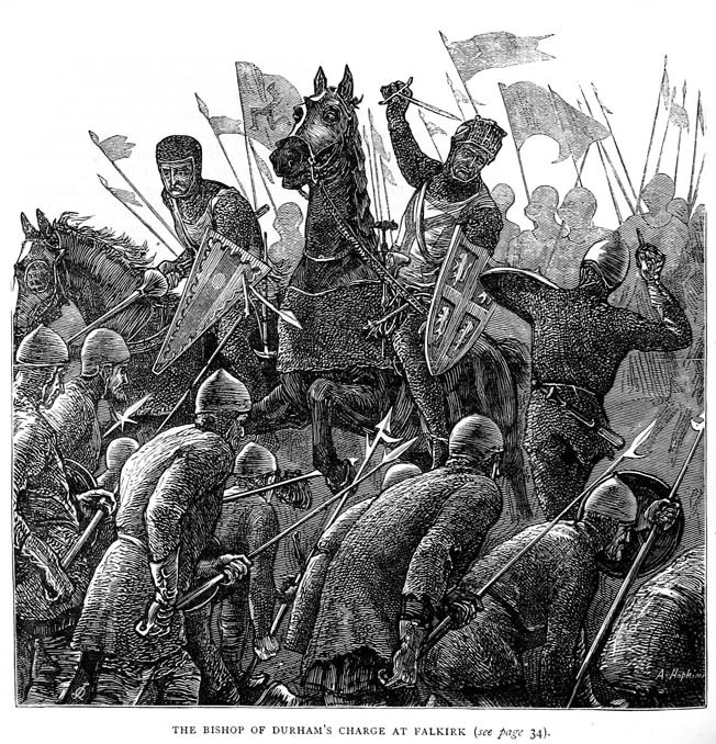 Using lances, swords, and maces, English knights overpower schiltrons drastically weakened by the English arrow storm at Falkirk.
