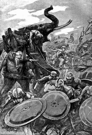 The Macedonian phalanx fought tenaciously against the vanguard of Pauravan war elephants to buy time for Alexander's heavy cavalry to vanquish the enemy's light cavalry.