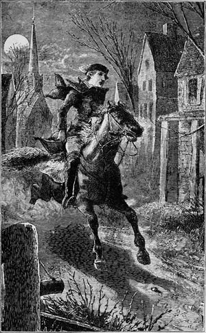 A romantic engraving depicts Paul Revere's ride through the countryside near Boston to rouse Minutemen who would oppose the British raid on Concord.