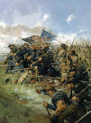 Men from Brig. Gen. John Gibbon's hard-fighting Iron Brigade emerge from Miller's Cornfield into a hailstorm of Confederate bullets in the morning hours of September 17, 1862, at Antietam. Painting by Keith Rocco.
