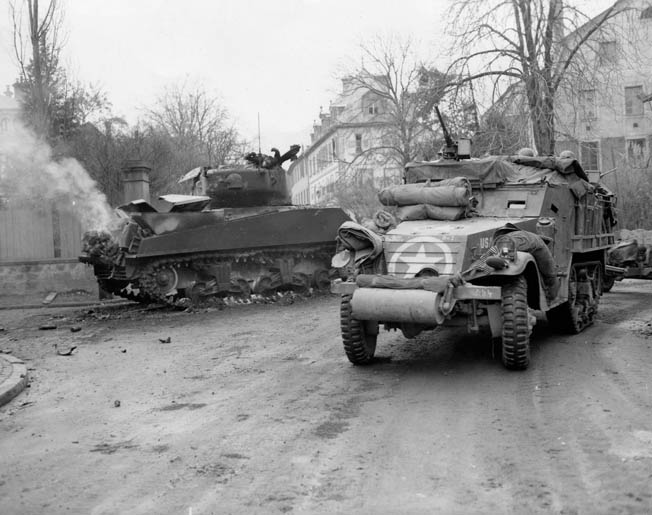 After Creamer lost the spring from his .30-caliber machine gun in Weisweiler, he scavenged the part he needed from a machine gun in a knocked-out Sherman tank, like the one shown here.