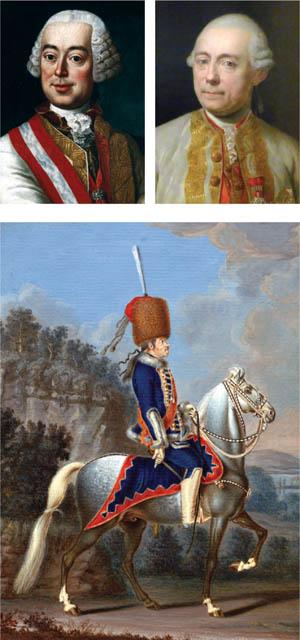 Clockwise from top left: Field Marshal Leopold Joseph Count von Daun, Lt. Gen. Franz Moritz Count von Lacy, and Prussian General Hans Joachim von Zieten.