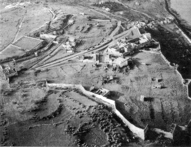 This aerial view of the Kasbah offers some indication of the difficulty assaulting ground troops experienced in capturing the fortress during the early phase of Operation Torch. American ground forces needed support from artillery and U.S. Navy dive bombers that plastered the Kasbah with 500-pound bombs.
