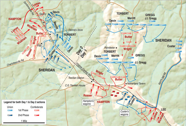 Day one of the battle (right) saw two Union divisions attack north of Trevilian Station, driving back Confederate defenders to the Gordonsville Road. Meanwhile, other Confederates attacked Custer's isolated brigade east of the station. On the second day (left), fighting centered on the Ogg House and Danne's Store, where Confederates beat back repeated Union frontal attacks on their L-shaped defensive line.
