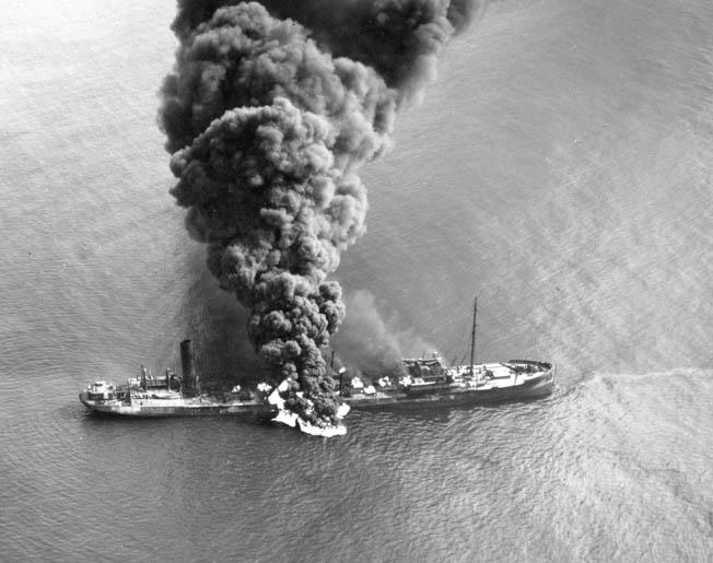 Torpedo'd midship off the coast of North Carolina April 4, 1942.