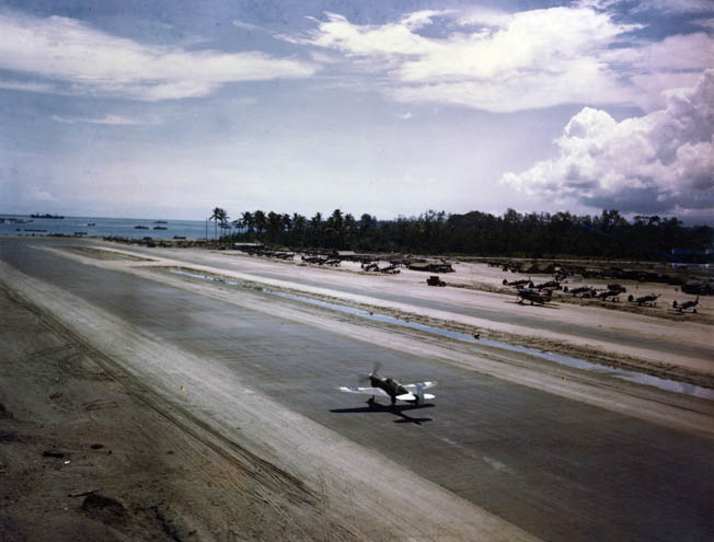 The Torokina fighter airstrip on Bougainville, one of the main objectives of the March 1944 Japanese counterattack. Note the Allied shipping in Empress Augusta Bay.