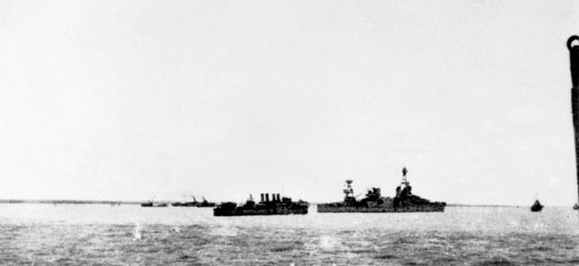 USS Houston and HMAS Perth went down with guns firing at the Battle of Sunda Strait.