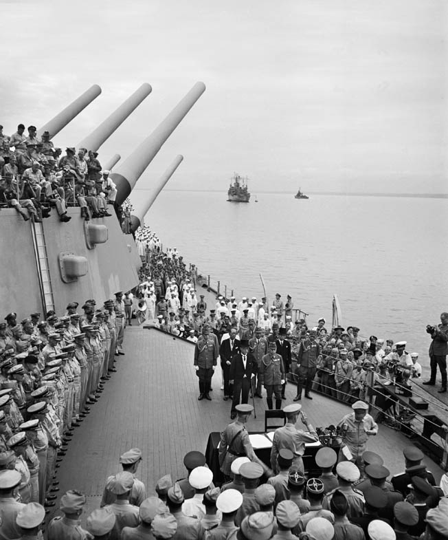In the days that followed the attack on Nagasaki, the Japanese began surrender negotiations, which was announced to the Japanese people on August 15, 1945. The actual surrender ceremony was held aboard the USS Missouri anchored in Tokyo Bay on September 2, 1945.