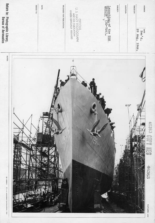 The O'Brien is launched at Bath, Maine, December 8, 1943.