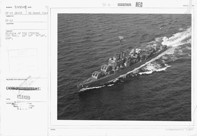 O'Brien photographed in March 1944, during her shakedown cruise following her February 25 commissioning in Boston.