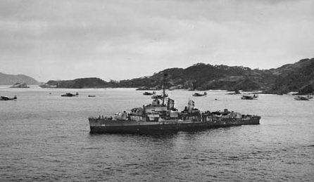 The USS O'Brien is surrounded by Martin PBM Mariner flying boats in the Keramas, March 1945. O'Brien joined Task Force 54 for the invasion of Kerema Retto on March 21, 1945.