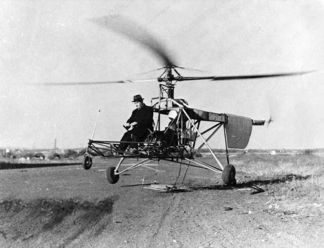 Helicopter pioneer Igor Sikorsky took to the air in his tethered VS-300 helicopter on September 14, 1939. Sikorsky's test flight program proved that helicopters were efficient and controllable in flight.