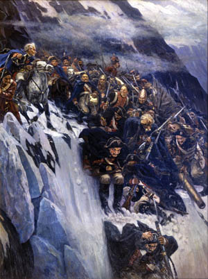 A romantic depiction of Mikhail Suvorov's army crossing the snow-covered Alps. The brilliant Russian general successfully extracted his army from the mountains in 1799 in the face of superior French forces.
