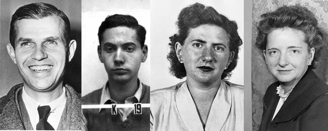 "Left to right: Alger Hiss, a Soviet agent in U.S. State Department; leftist physicist Ted Hall spied for NKGB, Ruth Greenglass, a spy who implicated the Rosenbergs; Elizabeth Bentley, ""turned"" NKGB agent, gave secrets of Reds' infiltration to FBI."