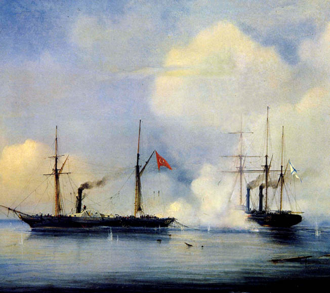 The Russian steam frigate Vladimir engages the Turkish frigate Pervaz Bahri before Sinop. The Russian Black Sea fleet preyed on Ottoman convoys supporting Turkish ground troops in the Caucasus Mountains, capturing the steamers Pervaz Bahri and Medzhir Tadzhiret in the process.