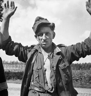 For him the war is over. A disheveled German soldier surrenders in Belgium, fall 1944. It is estimated that over four million German soldiers were taken prisoner by the Allies in World War II, although that figure may be conservative. On the whole, German POWs were treated far better by the U.S. and Britain than those captured by the Soviets.