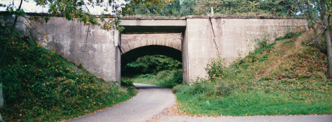 The author's platoon was engaged in a fierce firefight at this strongly defended railroad bridge over a road leading into Lemberg. Photo taken in 1994 by Al Lapa.
