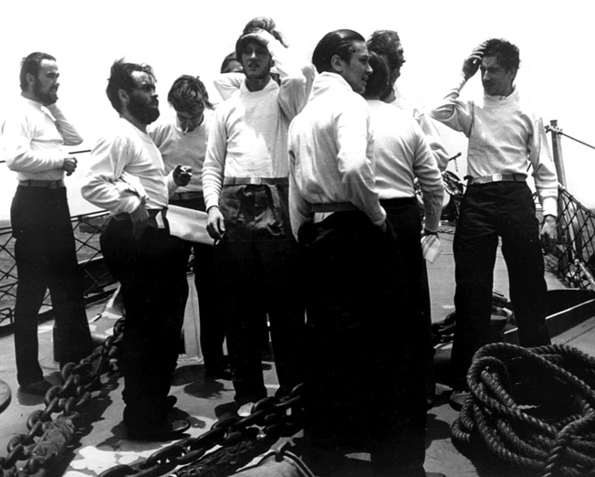German prisoners, survivors of the captured U-505 are shown aboard an American warship en route to Bermuda and a POW camp.
