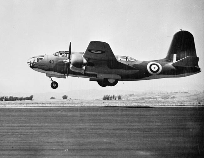 A Royal Air Force Douglas A-20 Boston light bomber retracts its landing gear as it takes off from a base in England. British bombers participated with American planes in the first bombing mission for the U.S. Army Air Forces against German targets on the European continent.