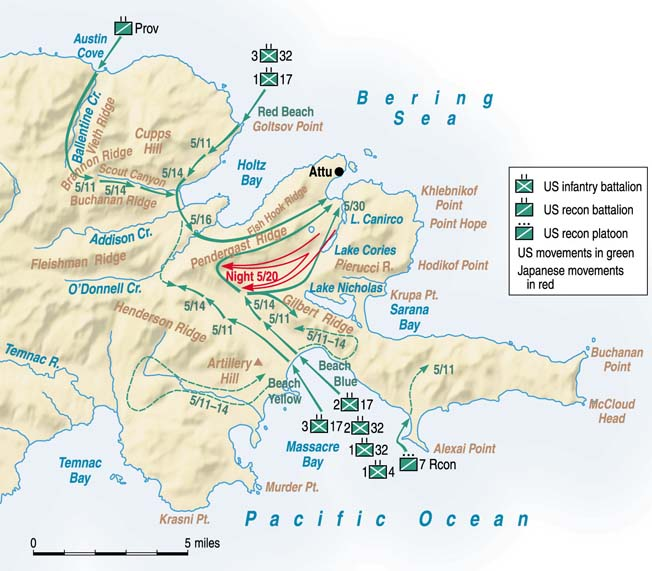After the Japanese initially seized Attu Island, U.S. forces of the 7th Infantry Division landed to the north and south on May 11, 1943, to squeeze them out.